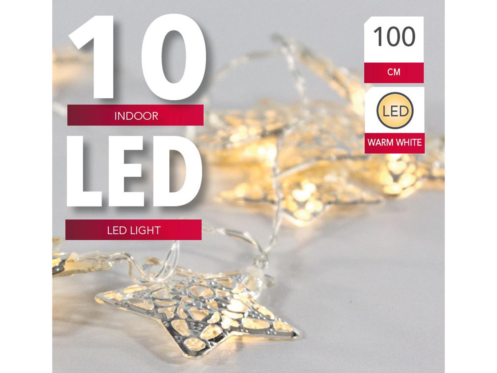 LED Kette Sterne 10 warm silber Image
