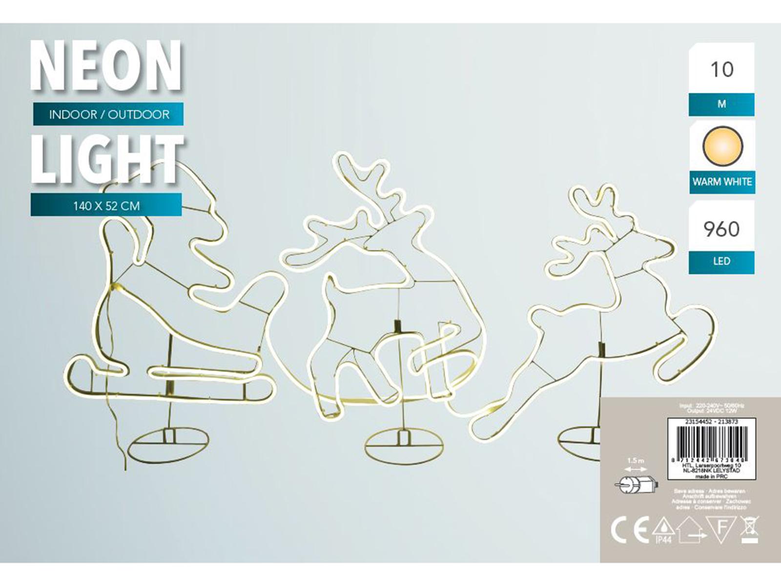 Rentiere mit Schlitten neon 140x52 cm Image