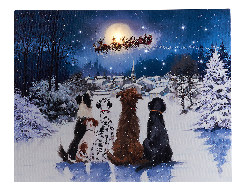 LED Bild Hunde mit Mond 38x48 cm Image
