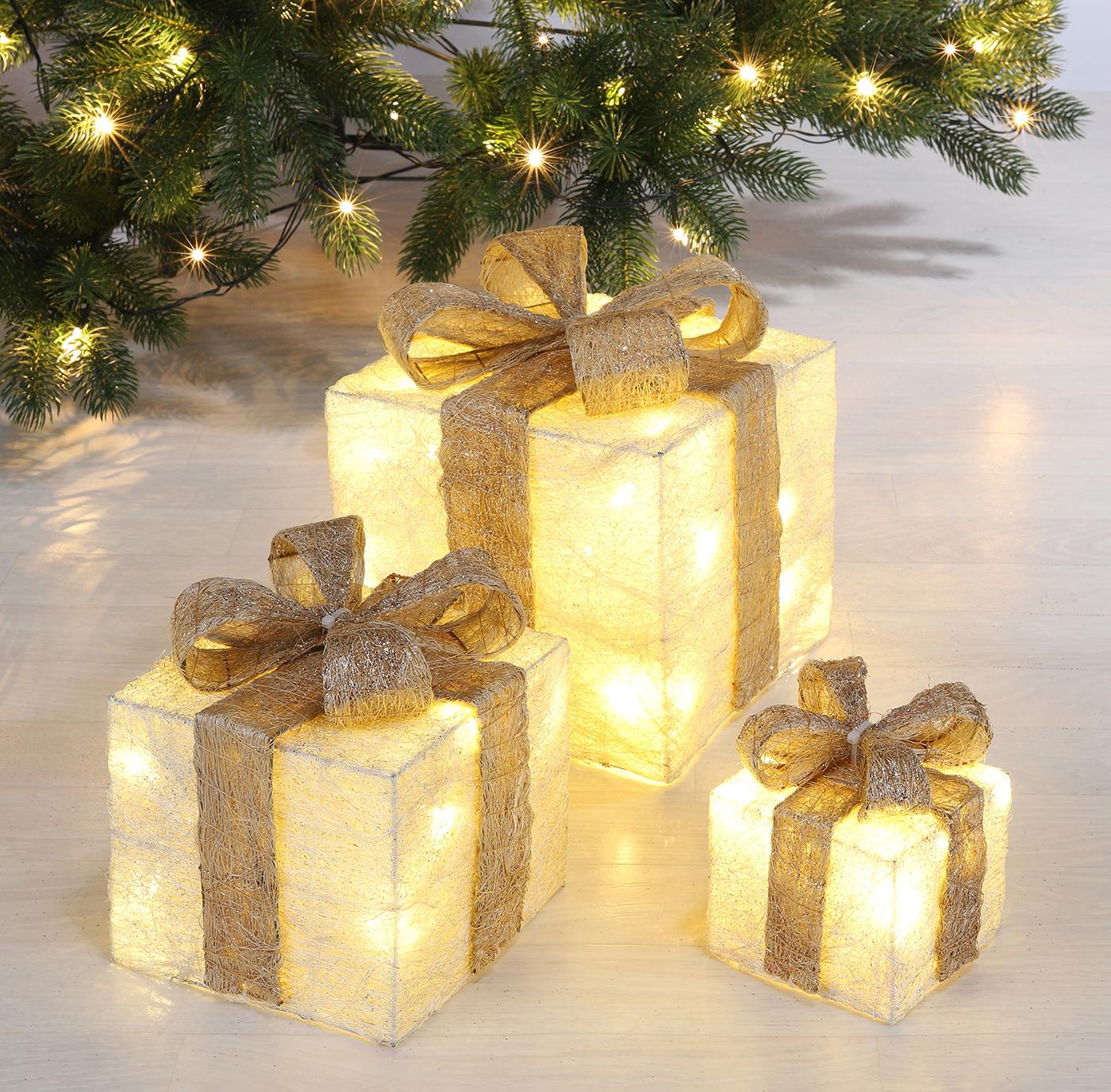LED Geschenkboxen 3er Set weiß Image