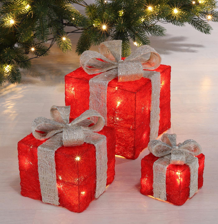 LED Geschenkboxen 3er Set rot Image