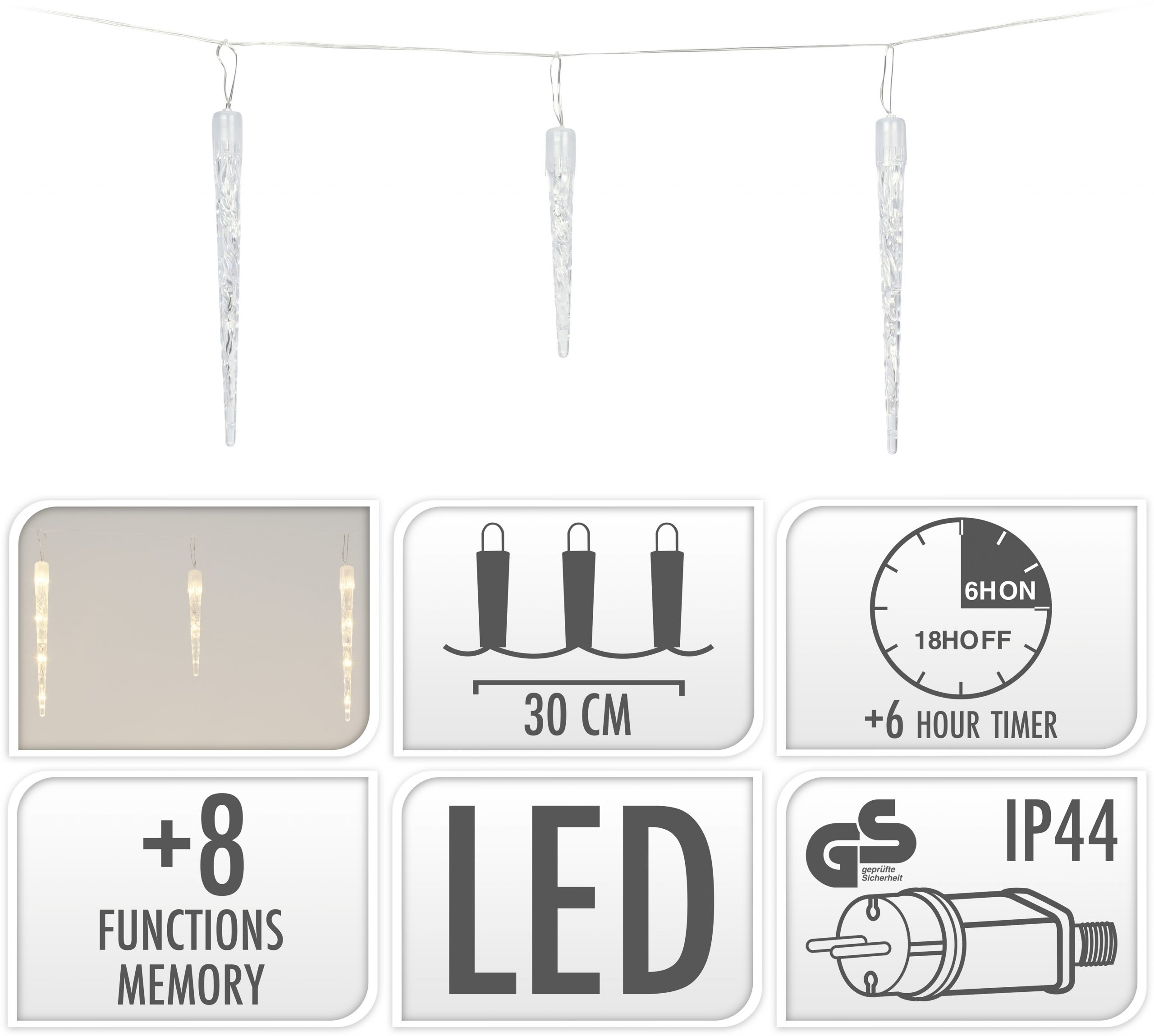 Eiszapfen Beleuchtung warmweiß 72 LED Image
