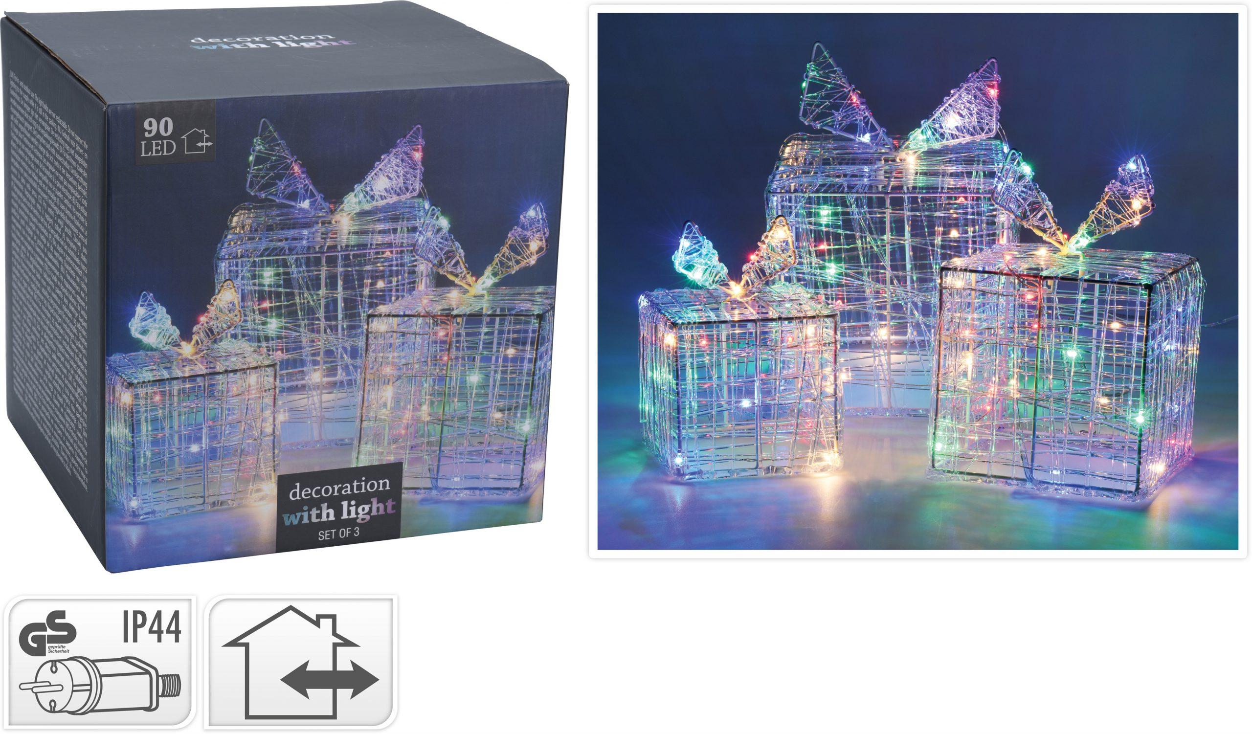 Geschenkset bunt 90 LED, 12/15/20 cm Image