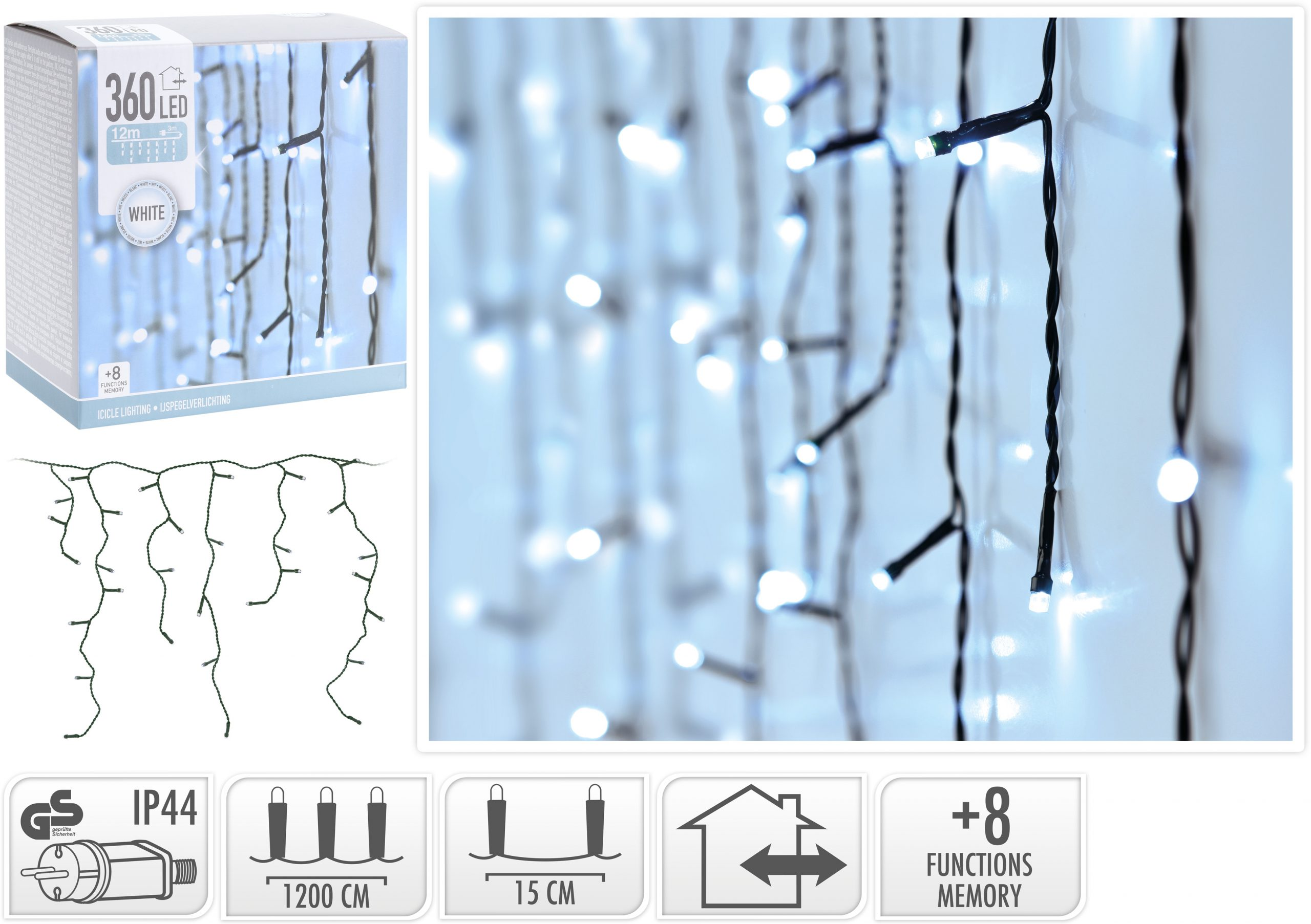 Lichtervorhang kaltweiß 360 LED, 12 m Image