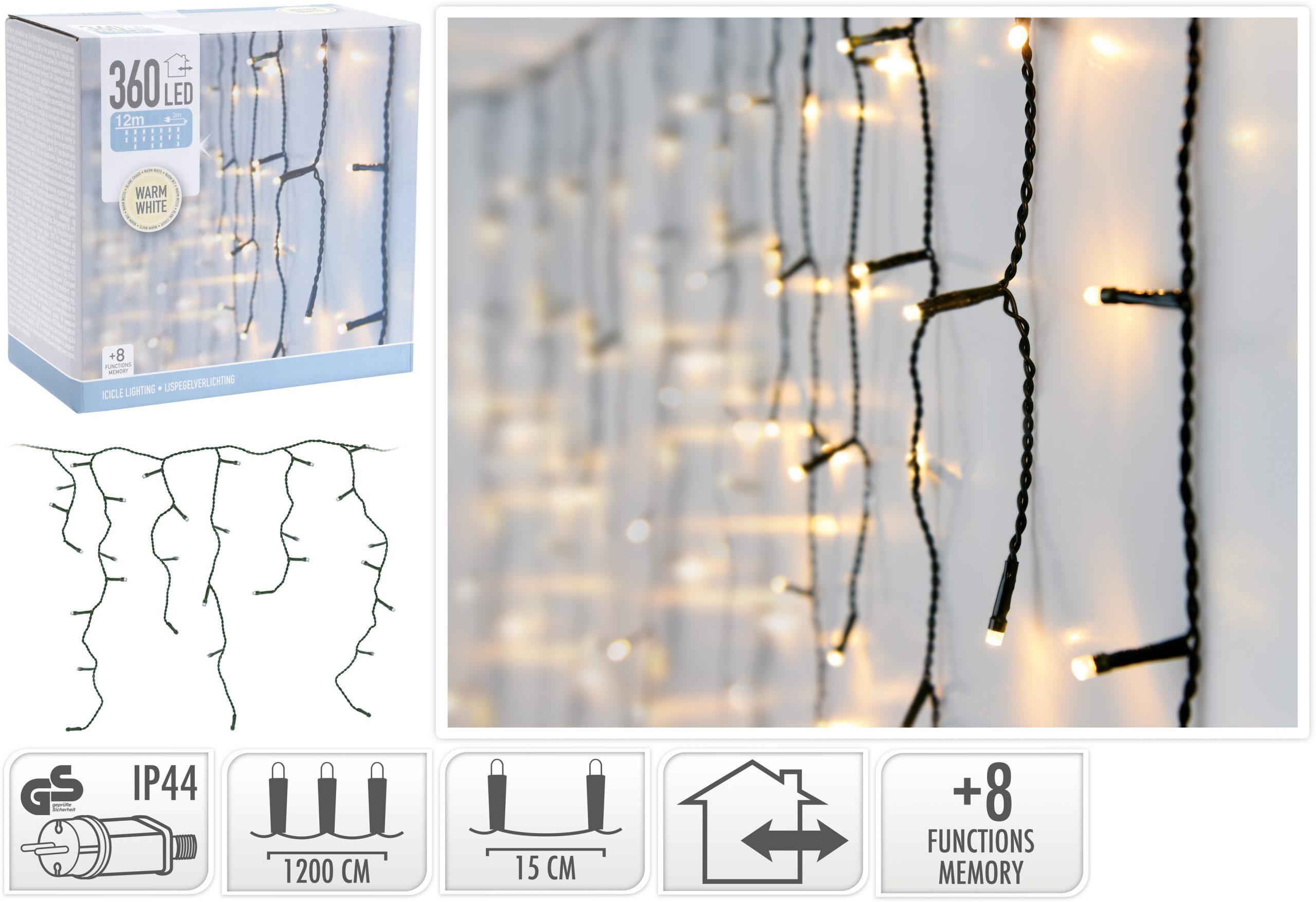 Lichtervorhang warmweiß 360 LED, 12 m Image